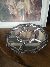 "SILVEPLATE LAZY SUSAN SERVING TRAY 19"" Extra LARGE PEDESTAL"
