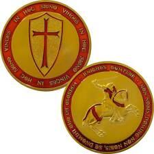 Moneta medaglia metallo CAVALIERI TEMPLARI croce IN HOC SIGNO VINCES rosso