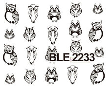 BLACK OWL Pattern Water Transfers Nail Art Sticker Decals UV Tips Decoration