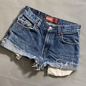 "Levi's Relaxed Fit 550 Cutoff Jean Shorts 27"" waist Super Short Frayed Hems"