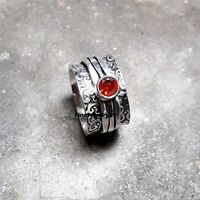 Garnet Ring Solid 925 Sterling Silver Spinner Meditation Statement Jewelry A441