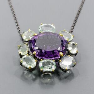 "68ct+ Vintage Amethyst Necklace 925 Sterling Silver  Length 18.5""/N06255"