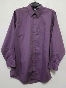 STAFFORD Mens Purple Dress Shirt Size 16 1/2 XT Long Sleeves & Collar Stays