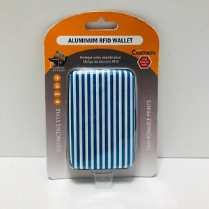 Miami CARRY ON Aluminum RFID Wallet Blue And White Stripes ~ NEW