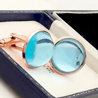 Vintage 1970s Aqua Blue Glass Cabochon - 20mm Round Rose Gold tone Cufflinks