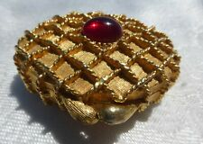 GREAT Houbigant Perfume Solid Gold Box RED Cabochon Vintage EMPTY HINGED