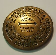 "Rare! Pikes Peak U.S.Coast&Geodetic Survey 3""solid bronze reference mark 1995"