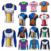 Hombres Dragon Ball Goku Larga Manga Corta T-shirts Ciclismo Super Saiyan Hot