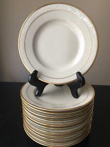 """Set 12 Vtg Beige KPM Kjobenhavns Denmark Copenhagen Dessert Plates Gold Trim D6"""""""