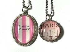 Silver-Plate Glass Cabochon Pendant Necklace (1) French at Heart Paris Artisan