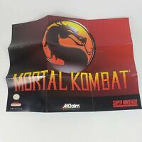 ORIGINAL Super Nintendo SNES Mortal Kombat Poster Insert Akklaim Excellent