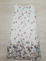 Ladies Summer Shift Dress Size 8 White Floral Butterflies Lined Sleeveless