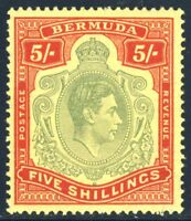 BERMUDA KG VI 1943  5/- Pale Green & Carmine-Red on Pale Yellow P14 SG 118d MINT