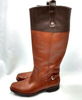 Tommy Hilfiger TW Hamden Womens 6.5 Tan Brown Knee High Riding Boot Zip 2 Tone