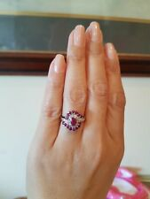 VINTAGE 9ct. GOLD DIAMOND & RUBY CLUSTER RING