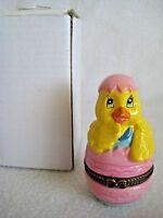 Easter Chick Egg Basket Hinged Trinket Box