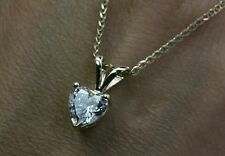 Heart Shape Solid 14K Yellow Gold 2 Carat Solitaire Pendant Necklace With Chain