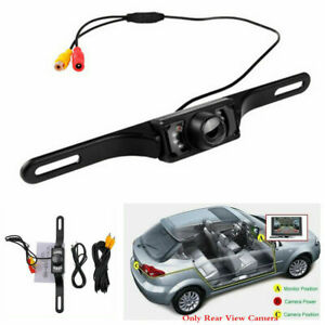 Car License Plate Mount 7 LED Rear View Reverse Backup Camera Night Vision 170°
