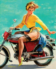 Breezing Up Motorcycle Vintage Pin Up Girl Poster Giclee Canvas Print 14x17