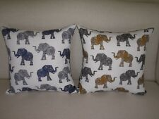 Elephant Print Cotton Cushion Cover 45cm Blue & White or Yellow & Gray Au made