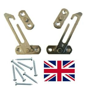 Pair Of UPVC Window Restrictor Child Lock  Safety Catch Free Screws Included