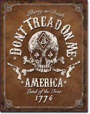Don't Tread On Me Flag American Skull Bones Military Garage Decor Metal Tin Sign