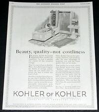 1924 OLD MAGAZINE PRINT AD, KOHLER, ENAMELED PLUMBING WARE, BATHROOM FIXTURES!