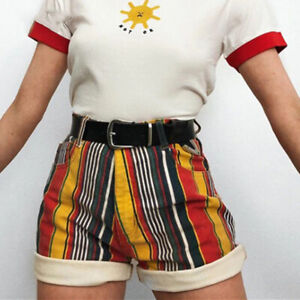 Preppy Colourful Stripes High Waist Shorts Summer Hippie Zipper Sexy Trousers