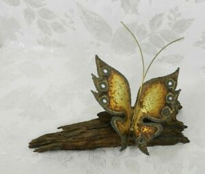 Vintage Metal & Charred Wood Butterfly Sculpture Artist Signed Toma