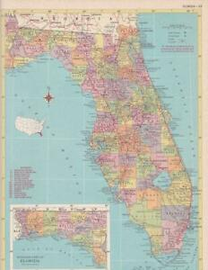 1957 Vintage Florida Map / 9x12 Great size for Wall Art/ 60+ years old