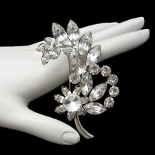 Vintage Art Deco Style Flower Brooch Pin Marquise Prong Set Rhinestones Floral