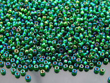 250g 91016 Silver Lined Green AB Miyuki Japanese Seed Beads Round Size 8/0 3mm W