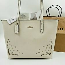 COACH F66906 Stardust Crystal Rivets Crossgrain Leather City Zip Tote Chalk NWT