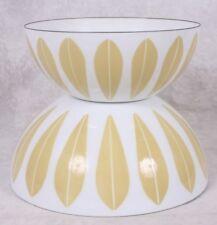 "2 Catherineholm Norway Enamelware Gold on White Lotus Nesting Bowls 8"" & 9.5"""