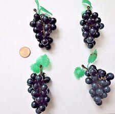 "Mini Grapes Lot of 4 Plastic Grapes Wedding Favor Fruit Wine Decor 3"" Purple New"