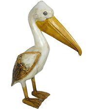 Hand Carved Pelican Coastal Sea Ocean Bird Wood Sculpture Tropical Island Art