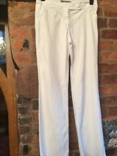 Per Una Linen/cotton Stretch White Trousers Size 10 Long