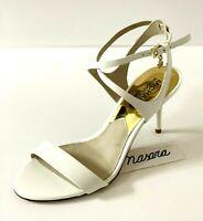 Women MK Michael Kors Kaylee Mid Heel Sandal Patent Leather Optic White