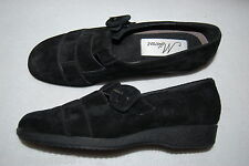 """Womens Casual Shoes BLACK SUEDE LEATHER Woven Front 1"""" WEDGE HEEL Adj Buckle 8 M"""