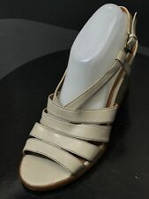 New Via Spiga Leather Strappy Light Gray Wedge Women Shoes Size US 10 M