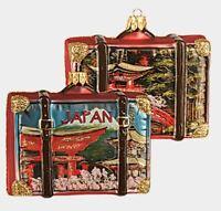 Japan Travel Suitcase Polish Blown Glass Christmas Ornament Tree ONE Decoration