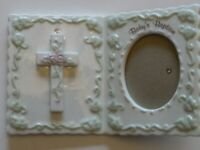 Russ Bernie & Company Picture Frame Baby's Baptism Porcelain for Girl 4 x 6 EUC