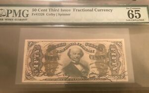 Third  issue fractional currency Fr -1328  , 50c  Colby / spinner  PMG 65 EPQ