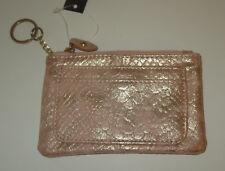Peach Coin Purse Faux Snake Skin Metallic Key Ring Zipper Card Slots New