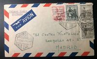 1958 Santa Isabel Fernando Poo First Flight Airmail Cover FFC To Madrid Spain
