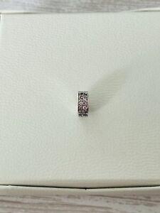 Silber Sterling S925 Rosa Pavé Clip Stopper für Pandora