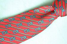 Hermes coral with stripes and horse bridle pattern tie made in France