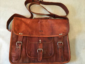 Lovel Vintage Leather School Satchel Bag Canvas Interior VIDA VIDA nice Quality
