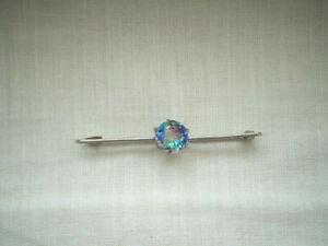 Art Deco Czech iris rainbow claw set stone sterling silver bar brooch pin 925