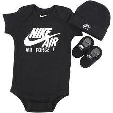 Nike Infant Air Force 1 Black Puff Logo 3-Piece Set (Hat OneZ & Booties) Sz 0-6M